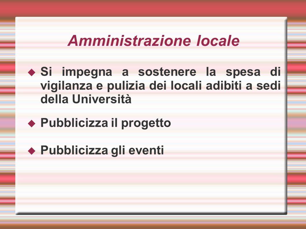 Amministrazione locale Si impegna a sostenere la spesa di vigilanza e pulizia dei locali adibiti a sedi della Università Pubblicizza il progetto Pubblicizza gli eventi