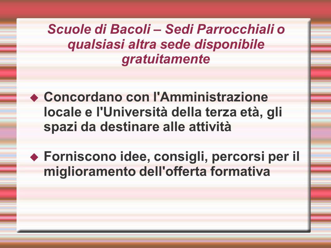 Scuole di Bacoli – Sedi Parrocchiali o qualsiasi altra sede disponibile gratuitamente Concordano con l'Amministrazione locale e l'Università della ter