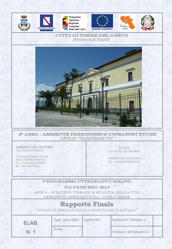 Sindaco On.le Dott. Ciro Borriello Assessore allUrbanistica Sig. Giuseppe Speranza 4 a area - AMBIENTE TERRITORIO E INFRASTRUTTURE UFFICIO TEAM PROGET