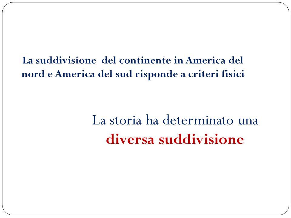 La suddivisione del continente in America del nord e America del sud risponde a criteri fisici La storia ha determinato una diversa suddivisione