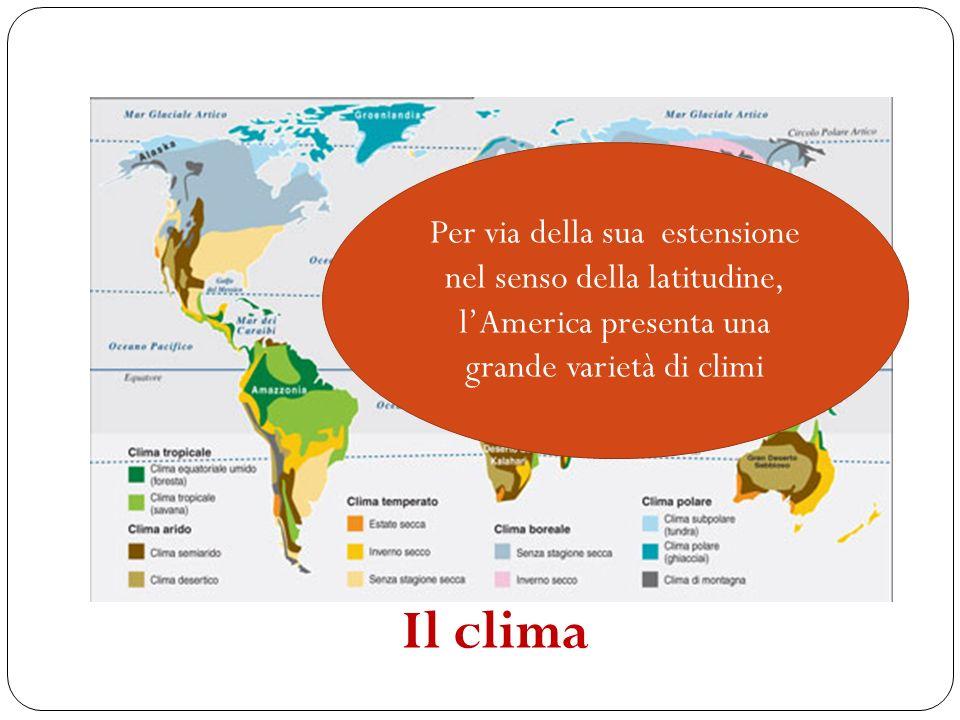 Per via della sua estensione nel senso della latitudine, lAmerica presenta una grande varietà di climi Il clima