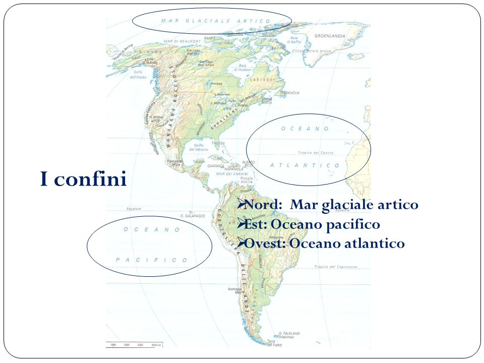 I confini Nord: Mar glaciale artico Est: Oceano pacifico Ovest: Oceano atlantico
