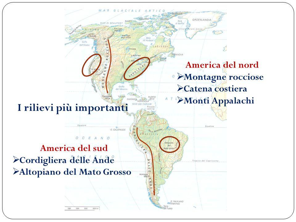 I rilievi più importanti America del nord Montagne rocciose Catena costiera Monti Appalachi America del sud Cordigliera delle Ande Altopiano del Mato