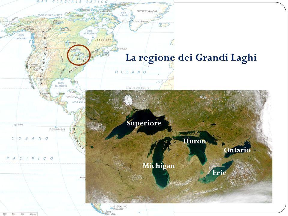 La regione dei Grandi Laghi Superiore Michigan Huron Erie Ontario