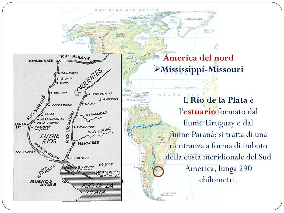 I fiumi più importanti America del nord Mississippi-Missouri America del sud Rio delle Amazzoni Rio de la Plata -Paranà Il Río de la Plata è l'estuari