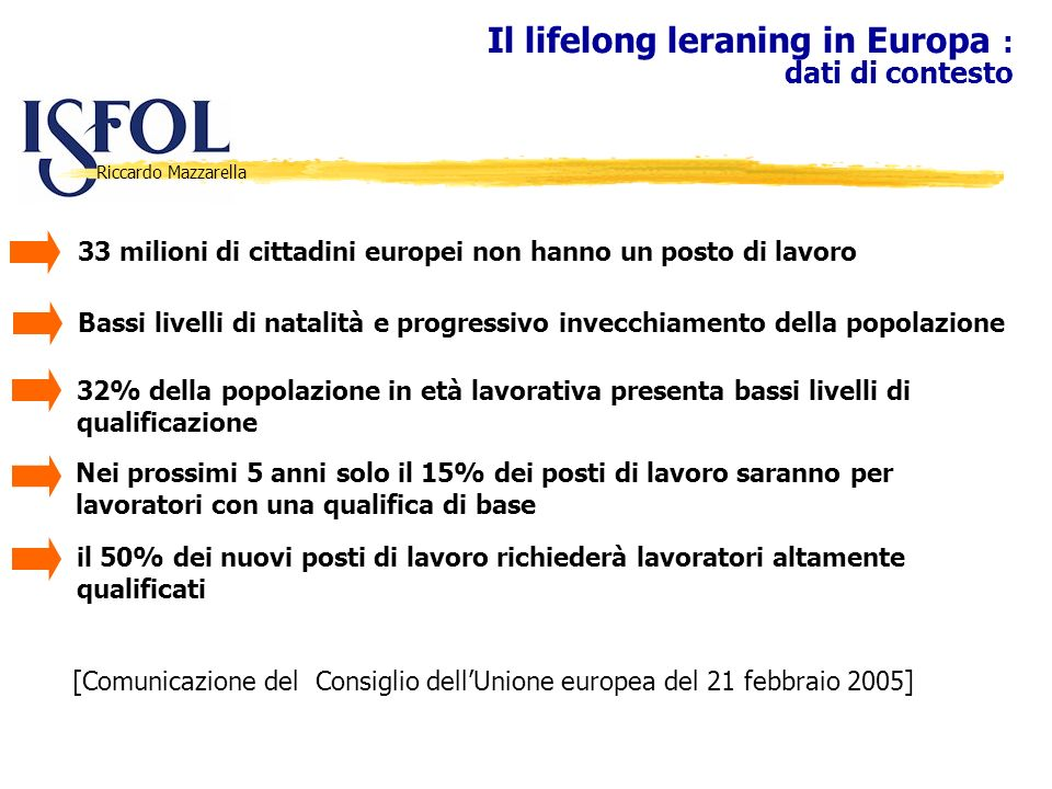 Riccardo Mazzarella Il lifelong leraning in Europa : dati di contesto 33 milioni di cittadini europei non hanno un posto di lavoro Bassi livelli di na