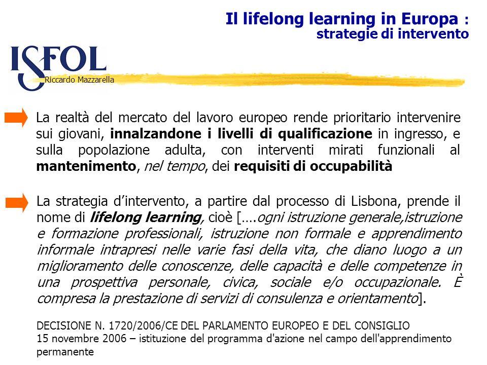 Riccardo Mazzarella Il lifelong learning in Europa : strategie di intervento La realtà del mercato del lavoro europeo rende prioritario intervenire su