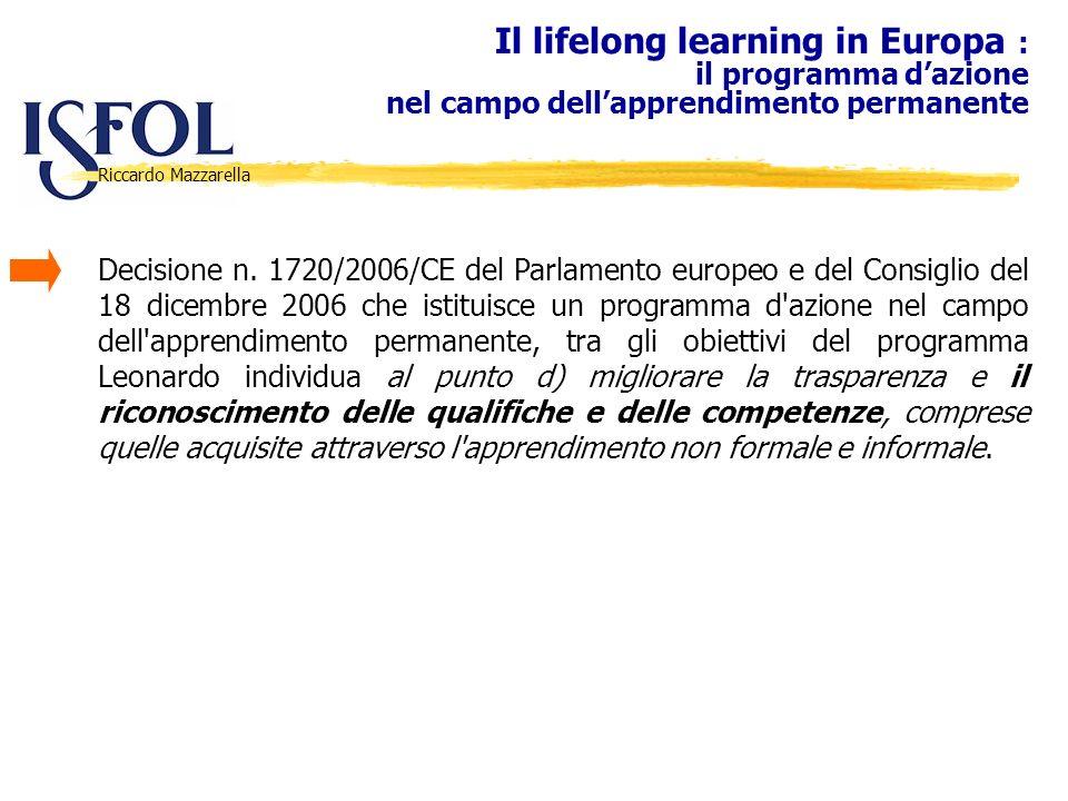 Riccardo Mazzarella Il lifelong learning in Europa : il programma dazione nel campo dellapprendimento permanente Decisione n. 1720/2006/CE del Parlame