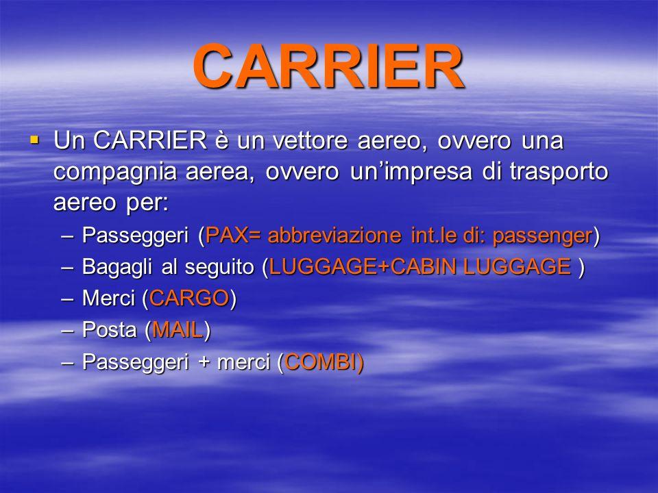 CARRIER Un CARRIER è un vettore aereo, ovvero una compagnia aerea, ovvero unimpresa di trasporto aereo per: Un CARRIER è un vettore aereo, ovvero una compagnia aerea, ovvero unimpresa di trasporto aereo per: –Passeggeri (PAX= abbreviazione int.le di: passenger) –Bagagli al seguito (LUGGAGE+CABIN LUGGAGE ) –Merci (CARGO) –Posta (MAIL) –Passeggeri + merci (COMBI)