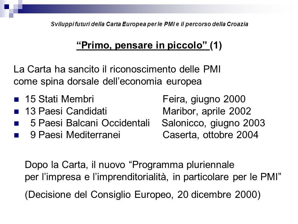 Sviluppi futuri della Carta Europea per le PMI e il percorso della Croazia Primo, pensare in piccolo (1) La Carta ha sancito il riconoscimento delle PMI come spina dorsale delleconomia europea 15 Stati MembriFeira, giugno 2000 13 Paesi CandidatiMaribor, aprile 2002 5 Paesi Balcani Occidentali Salonicco, giugno 2003 9 Paesi MediterraneiCaserta, ottobre 2004 Dopo la Carta, il nuovo Programma pluriennale per limpresa e limprenditorialità, in particolare per le PMI (Decisione del Consiglio Europeo, 20 dicembre 2000)