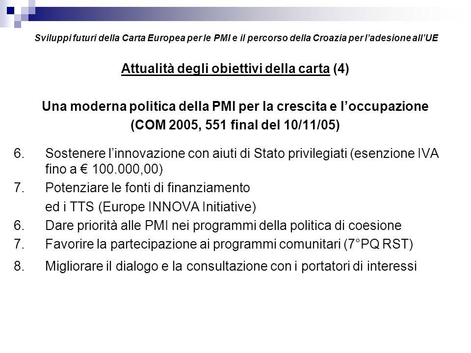 Sviluppi futuri della Carta Europea per le PMI e il percorso della Croazia per ladesione allUE Attualità degli obiettivi della carta (4) Una moderna politica della PMI per la crescita e loccupazione (COM 2005, 551 final del 10/11/05) 6.Sostenere linnovazione con aiuti di Stato privilegiati (esenzione IVA fino a 100.000,00) 7.Potenziare le fonti di finanziamento ed i TTS (Europe INNOVA Initiative) 6.Dare priorità alle PMI nei programmi della politica di coesione 7.Favorire la partecipazione ai programmi comunitari (7°PQ RST) 8.Migliorare il dialogo e la consultazione con i portatori di interessi
