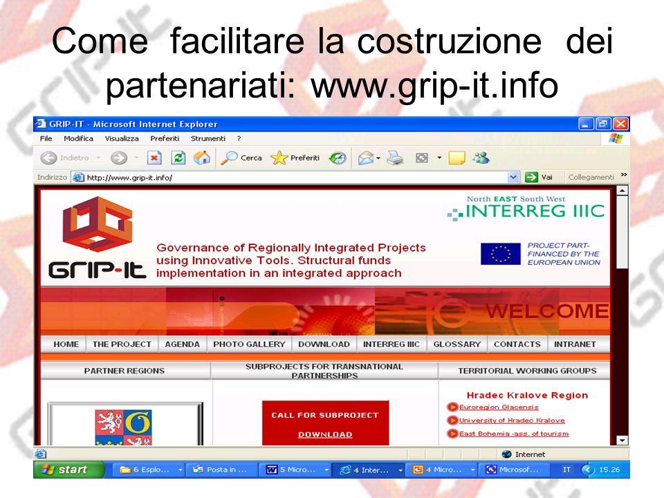 Come facilitare la costruzione dei partenariati: www.grip-it.info