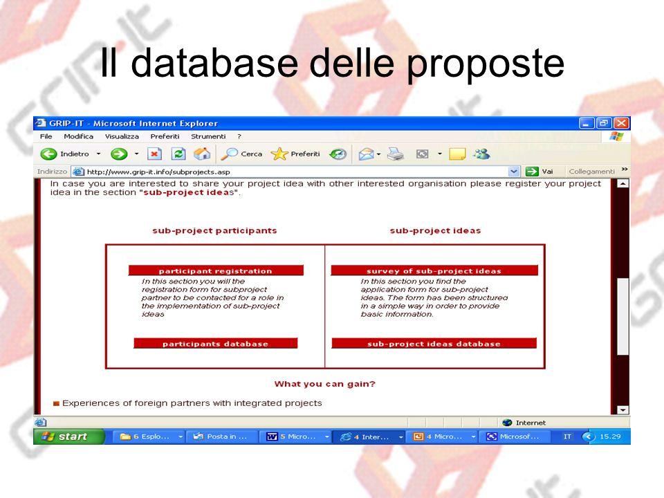 Il database delle proposte