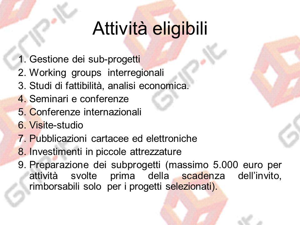 Attività eligibili 1.Gestione dei sub-progetti 2.Working groups interregionali 3.Studi di fattibilità, analisi economica.