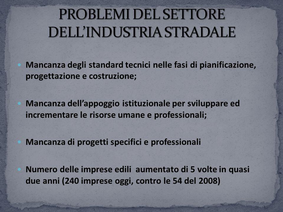 Mancanza degli standard tecnici nelle fasi di pianificazione, progettazione e costruzione; Mancanza dellappoggio istituzionale per sviluppare ed incre