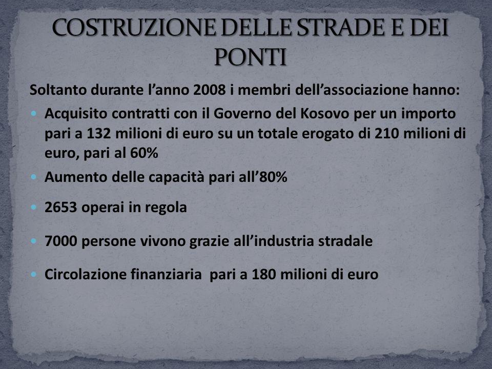 Soltanto durante lanno 2008 i membri dellassociazione hanno: Acquisito contratti con il Governo del Kosovo per un importo pari a 132 milioni di euro s