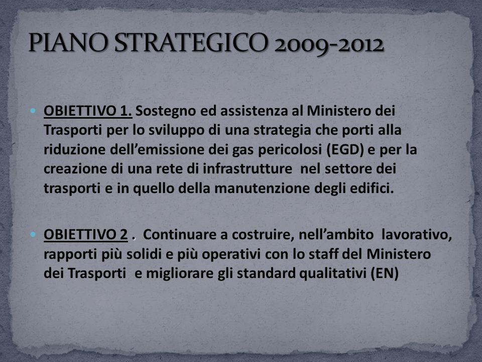 OBIETTIVO 1. Sostegno ed assistenza al Ministero dei Trasporti per lo sviluppo di una strategia che porti alla riduzione dellemissione dei gas pericol