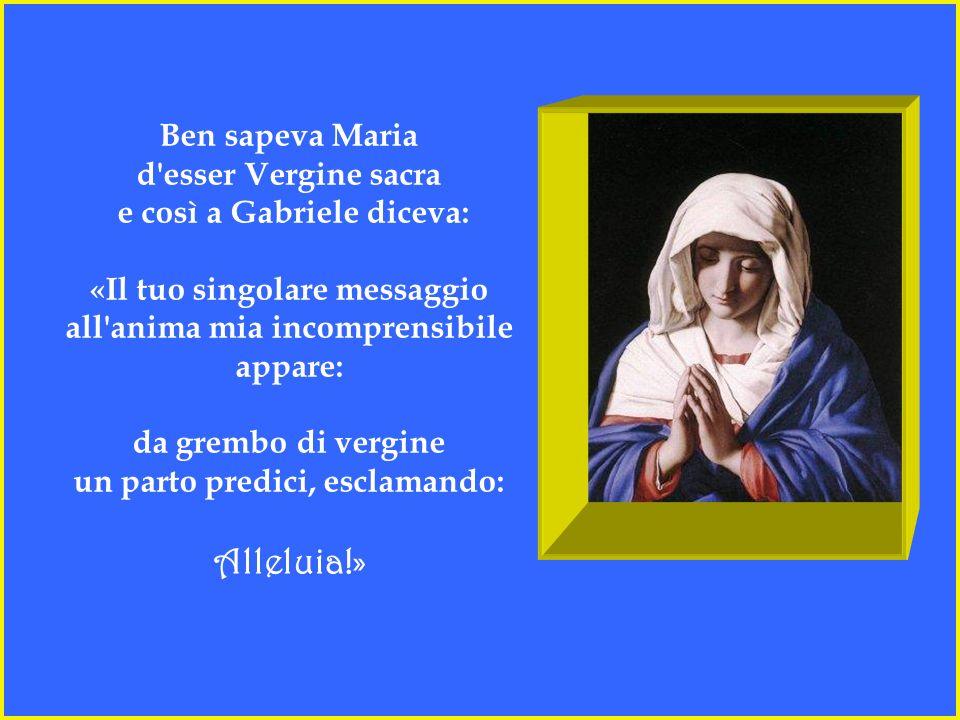 Ben sapeva Maria d esser Vergine sacra e così a Gabriele diceva: «Il tuo singolare messaggio all anima mia incomprensibile appare: da grembo di vergine un parto predici, esclamando: Alleluia!»