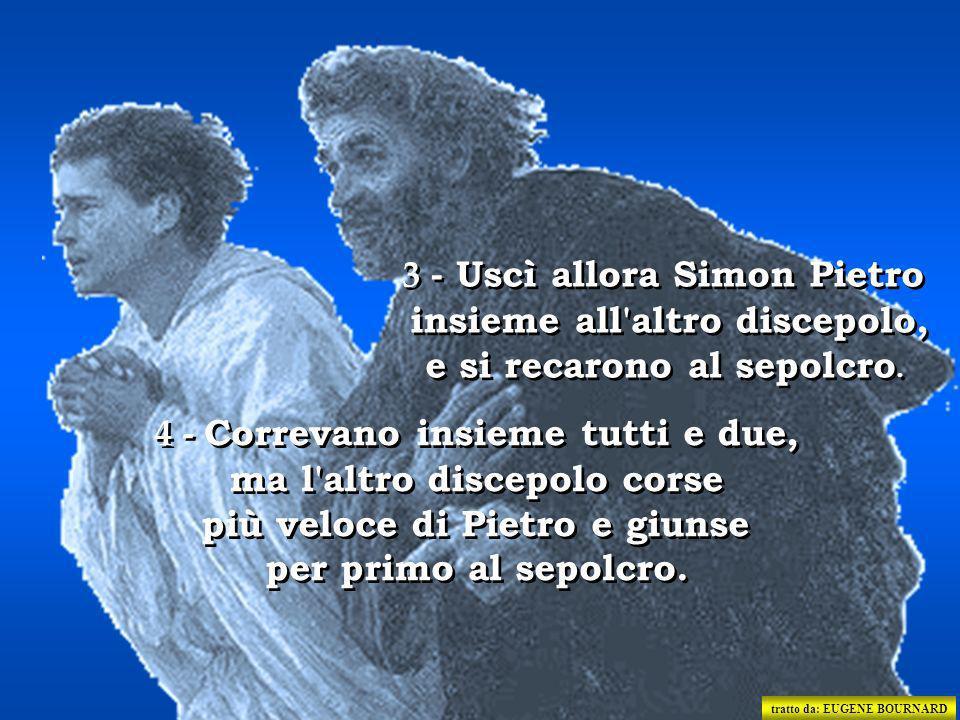 2 - Corse allora e andò da Simon Pietro e dall'altro discepolo, quello che Gesù amava, e disse loro: «Hanno portato via il Signore dal sepolcro e non