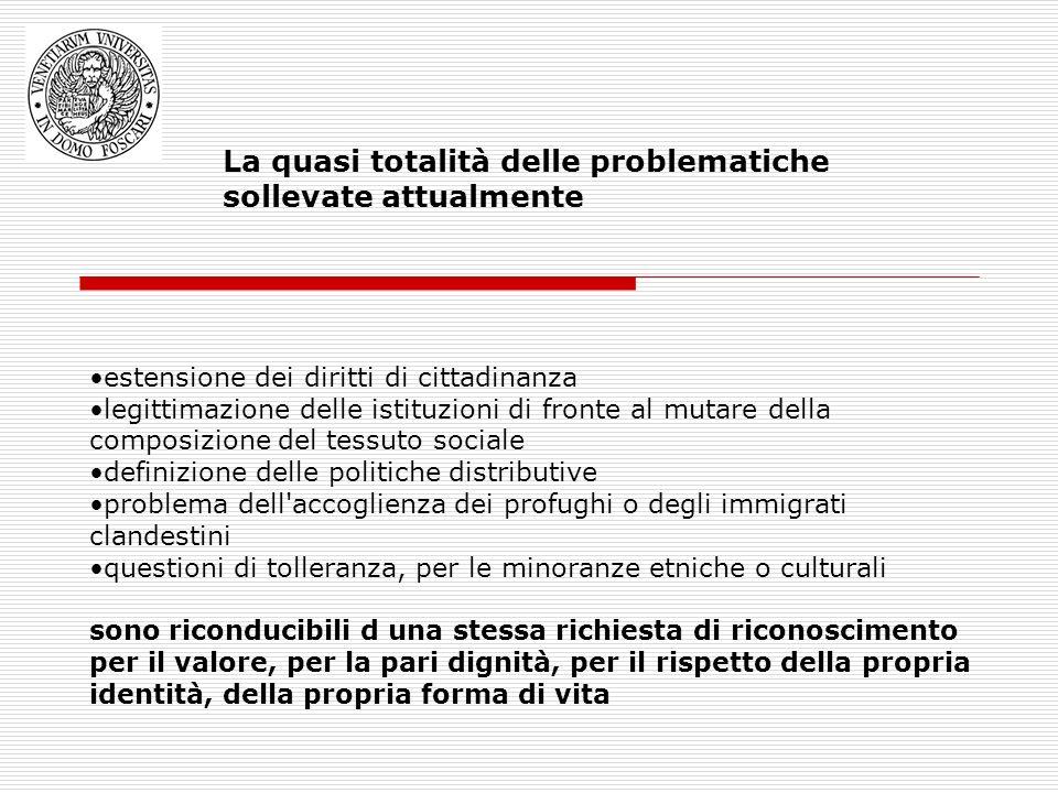 La quasi totalità delle problematiche sollevate attualmente estensione dei diritti di cittadinanza legittimazione delle istituzioni di fronte al mutar