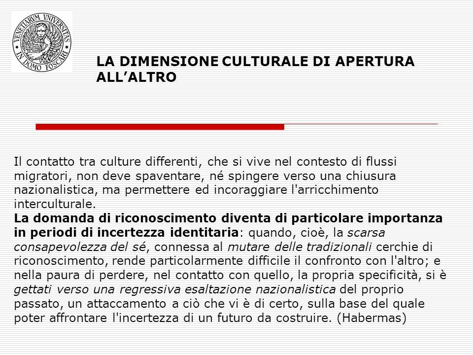 LA DIMENSIONE CULTURALE DI APERTURA ALLALTRO Il contatto tra culture differenti, che si vive nel contesto di flussi migratori, non deve spaventare, né