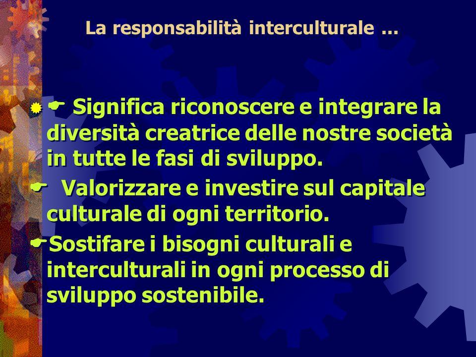 La responsabilità interculturale... Significa riconoscere e integrare la diversità creatrice delle nostre società in tutte le fasi di sviluppo. Valori