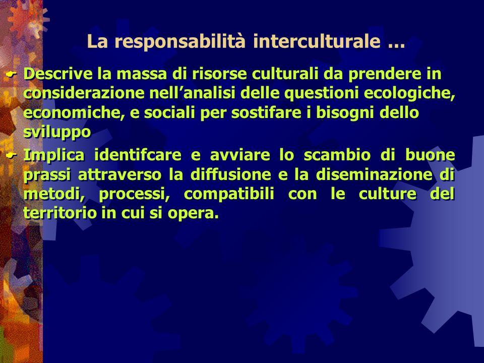 La responsabilità interculturale... Descrive la massa di risorse culturali da prendere in considerazione nellanalisi delle questioni ecologiche, econo