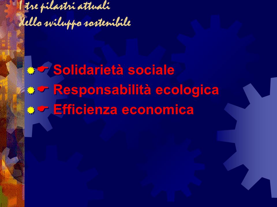 I tre pilastri attuali dello sviluppo sostenibile Solidarietà sociale Responsabilità ecologica Efficienza economica Solidarietà sociale Responsabilità ecologica Efficienza economica