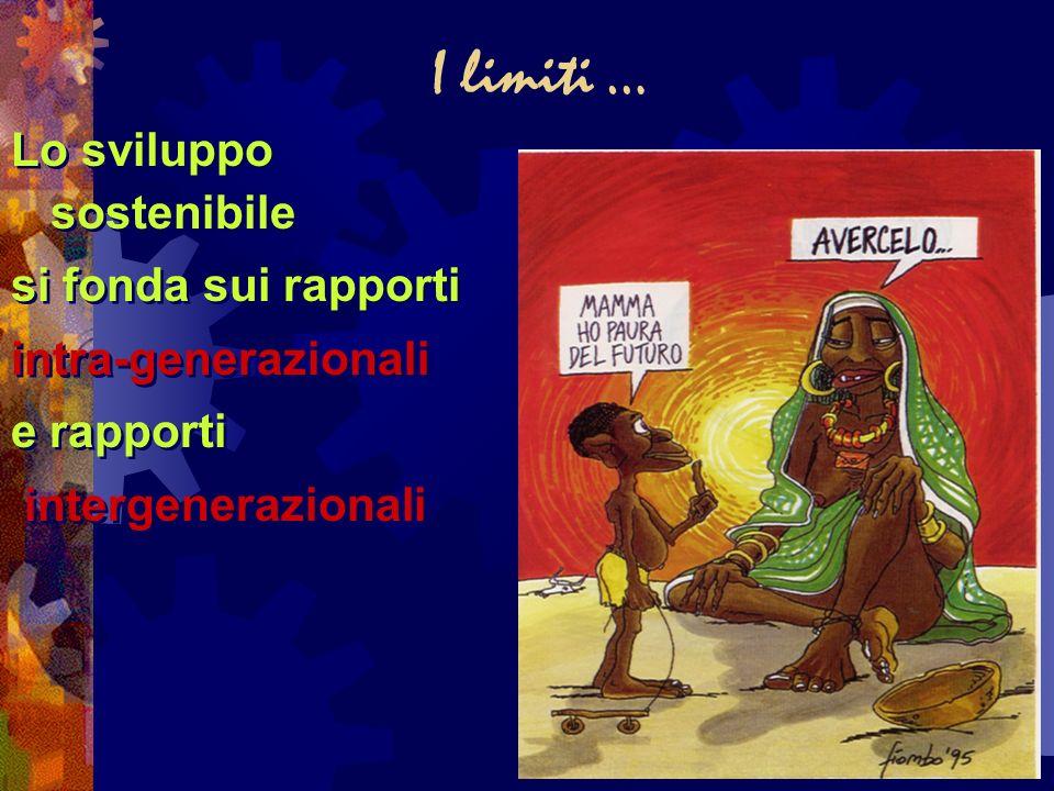 I limiti … Lo sviluppo sostenibile si fonda sui rapporti intra-generazionali e rapporti intergenerazionali Lo sviluppo sostenibile si fonda sui rappor