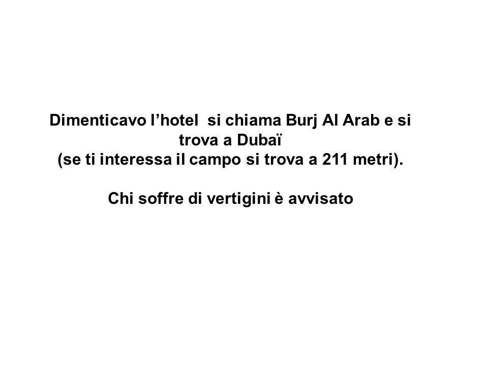 Dimenticavo lhotel si chiama Burj Al Arab e si trova a Dubaï (se ti interessa il campo si trova a 211 metri).
