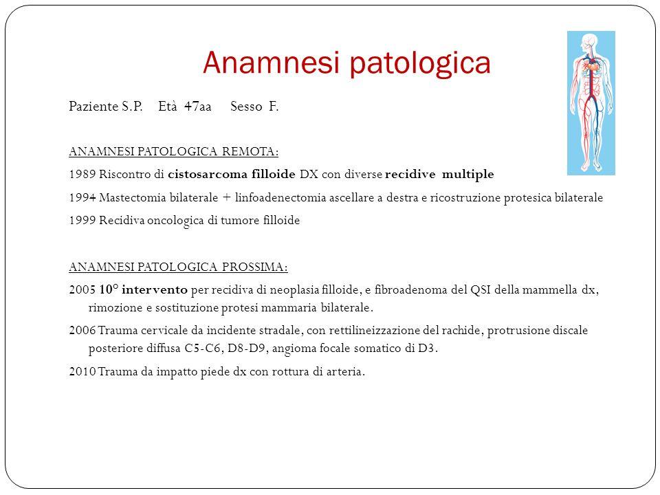 Anamnesi patologica Paziente S.P.Età 47aa Sesso F.