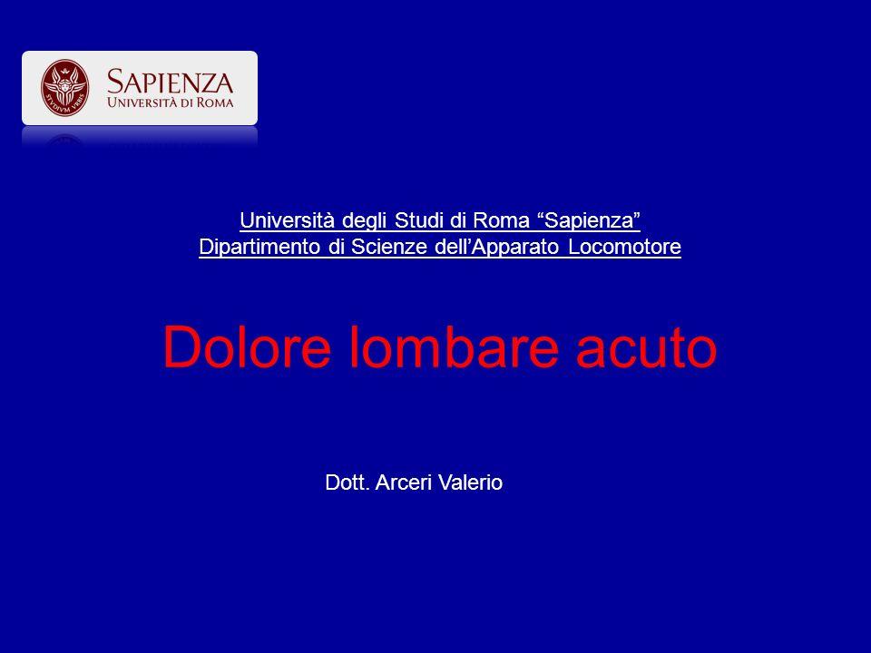 Dott. Arceri Valerio Università degli Studi di Roma Sapienza Dipartimento di Scienze dellApparato Locomotore Dolore lombare acuto