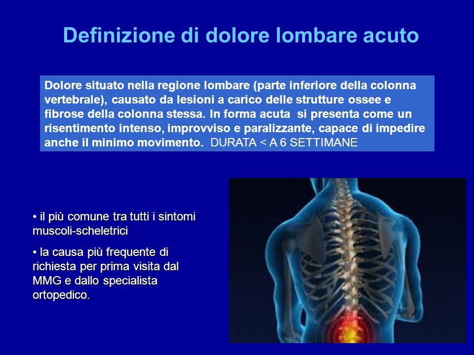 Dolore situato nella regione lombare (parte inferiore della colonna vertebrale), causato da lesioni a carico delle strutture ossee e fibrose della col
