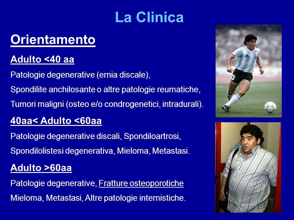 Orientamento Adulto <40 aa Patologie degenerative (ernia discale), Spondilite anchilosante o altre patologie reumatiche, Tumori maligni (osteo e/o con