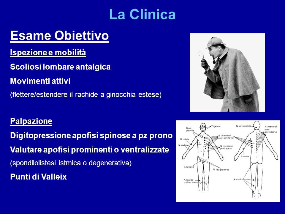 Esame Obiettivo Ispezione e mobilità Scoliosi lombare antalgica Movimenti attivi (flettere/estendere il rachide a ginocchia estese)Palpazione Digitopr