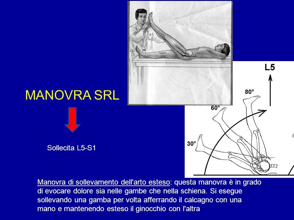 MANOVRA SRL Manovra di sollevamento dell'arto esteso: questa manovra è in grado di evocare dolore sia nelle gambe che nella schiena. Si esegue solleva
