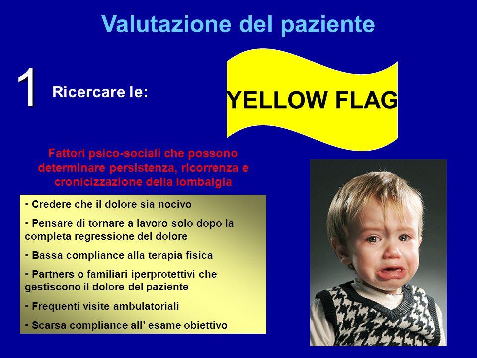Valutazione del paziente YELLOW FLAG Ricercare le: 1 Credere che il dolore sia nocivo Pensare di tornare a lavoro solo dopo la completa regressione de