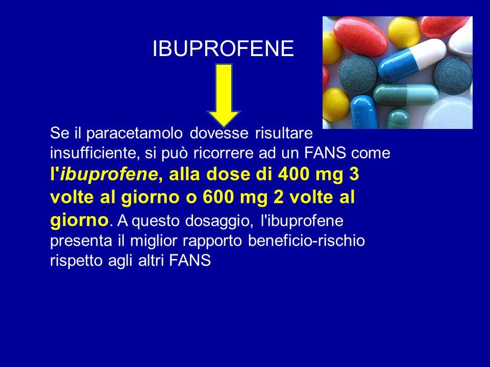 Se il paracetamolo dovesse risultare insufficiente, si può ricorrere ad un FANS come l'ibuprofene, alla dose di 400 mg 3 volte al giorno o 600 mg 2 vo