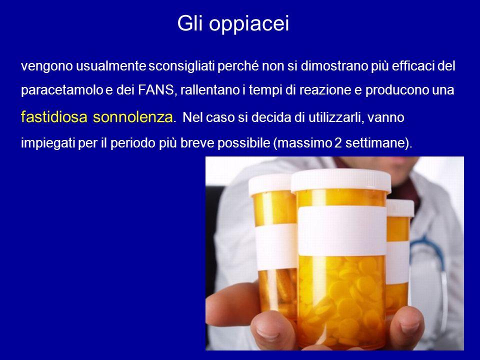 Gli oppiacei vengono usualmente sconsigliati perché non si dimostrano più efficaci del paracetamolo e dei FANS, rallentano i tempi di reazione e produ