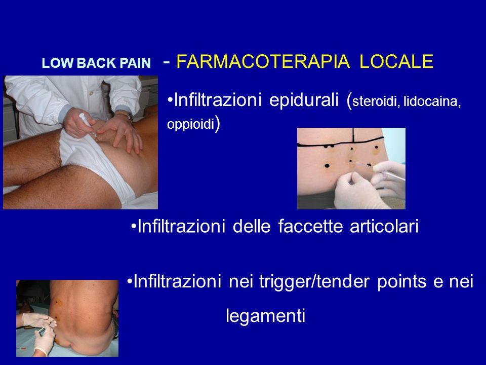 Infiltrazioni epidurali ( steroidi, lidocaina, oppioidi ) LOW BACK PAIN - FARMACOTERAPIA LOCALE Infiltrazioni delle faccette articolari Infiltrazioni