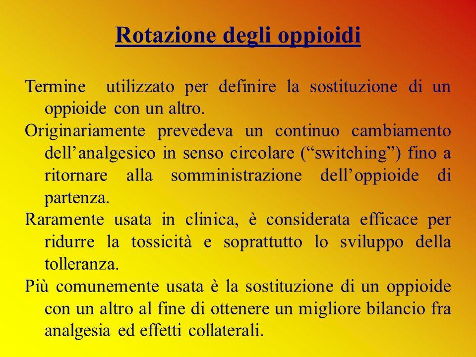 Rotazione degli oppioidi Termine utilizzato per definire la sostituzione di un oppioide con un altro. Originariamente prevedeva un continuo cambiament