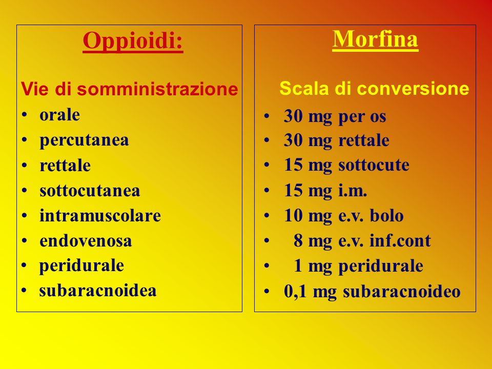 Oppioidi: Vie di somministrazione orale percutanea rettale sottocutanea intramuscolare endovenosa Morfina Scala di conversione 30 mg per os 30 mg rett