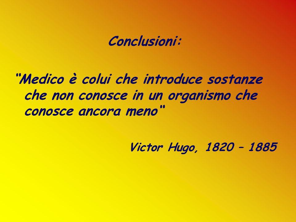 Conclusioni: Medico è colui che introduce sostanze che non conosce in un organismo che conosce ancora meno Victor Hugo, 1820 – 1885