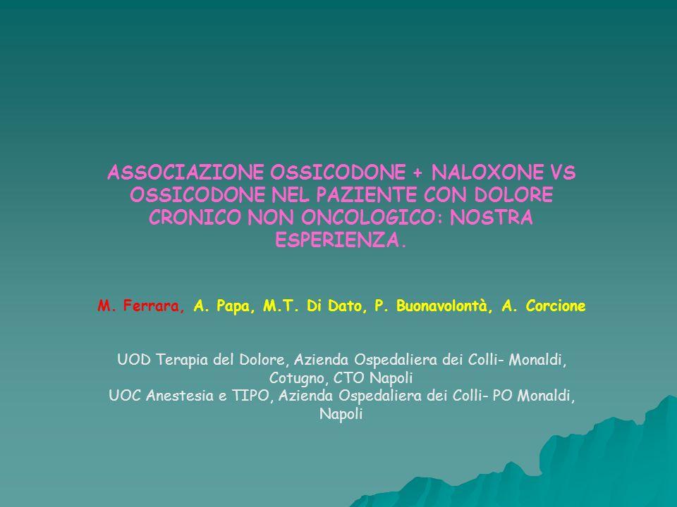 ASSOCIAZIONE OSSICODONE + NALOXONE VS OSSICODONE NEL PAZIENTE CON DOLORE CRONICO NON ONCOLOGICO: NOSTRA ESPERIENZA. M. Ferrara, A. Papa, M.T. Di Dato,