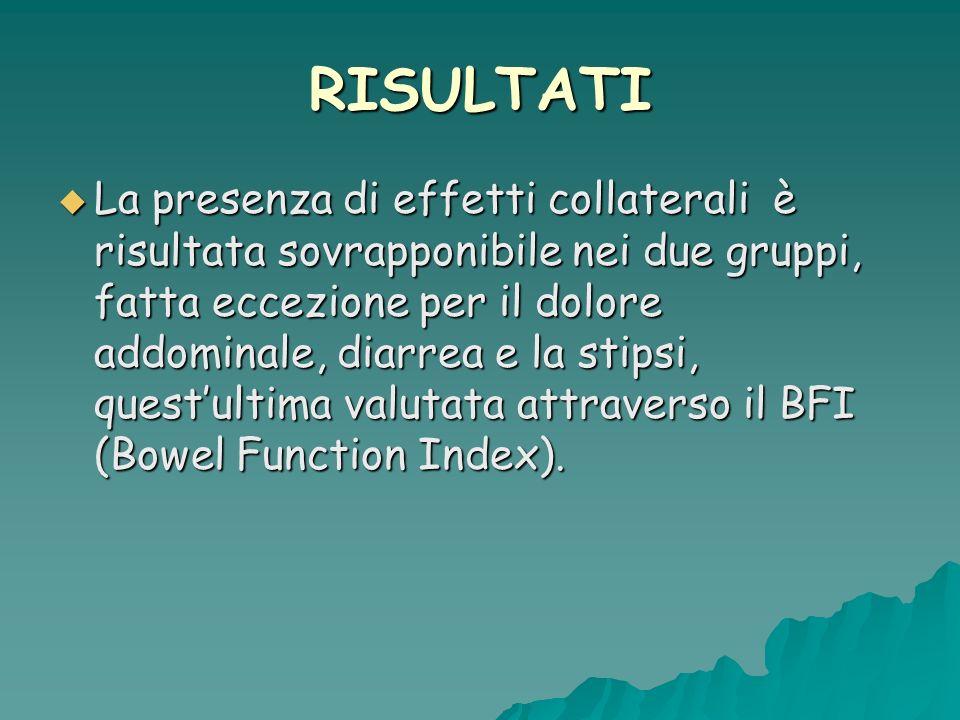 La presenza di effetti collaterali è risultata sovrapponibile nei due gruppi, fatta eccezione per il dolore addominale, diarrea e la stipsi, questultima valutata attraverso il BFI (Bowel Function Index).