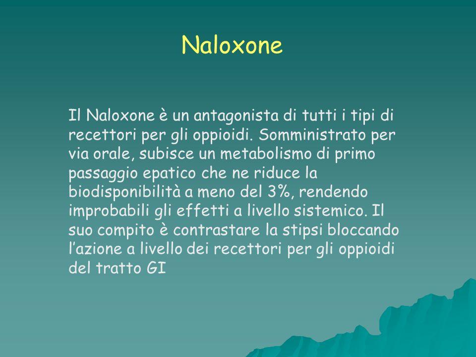 Il Naloxone è un antagonista di tutti i tipi di recettori per gli oppioidi. Somministrato per via orale, subisce un metabolismo di primo passaggio epa