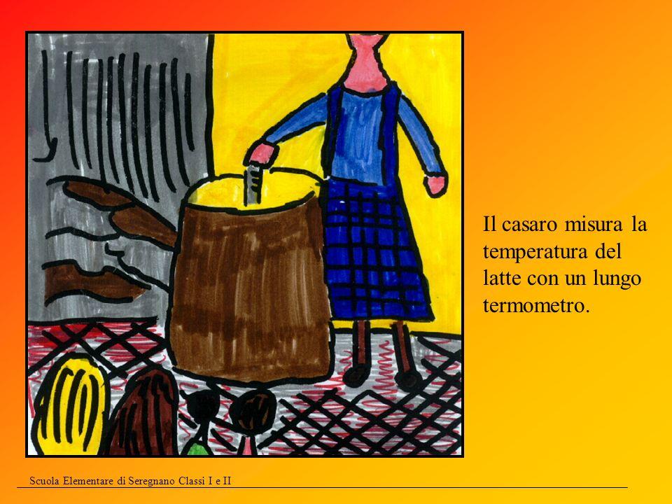 Scuola Elementare di Seregnano Classi I e II Il casaro misura la temperatura del latte con un lungo termometro.