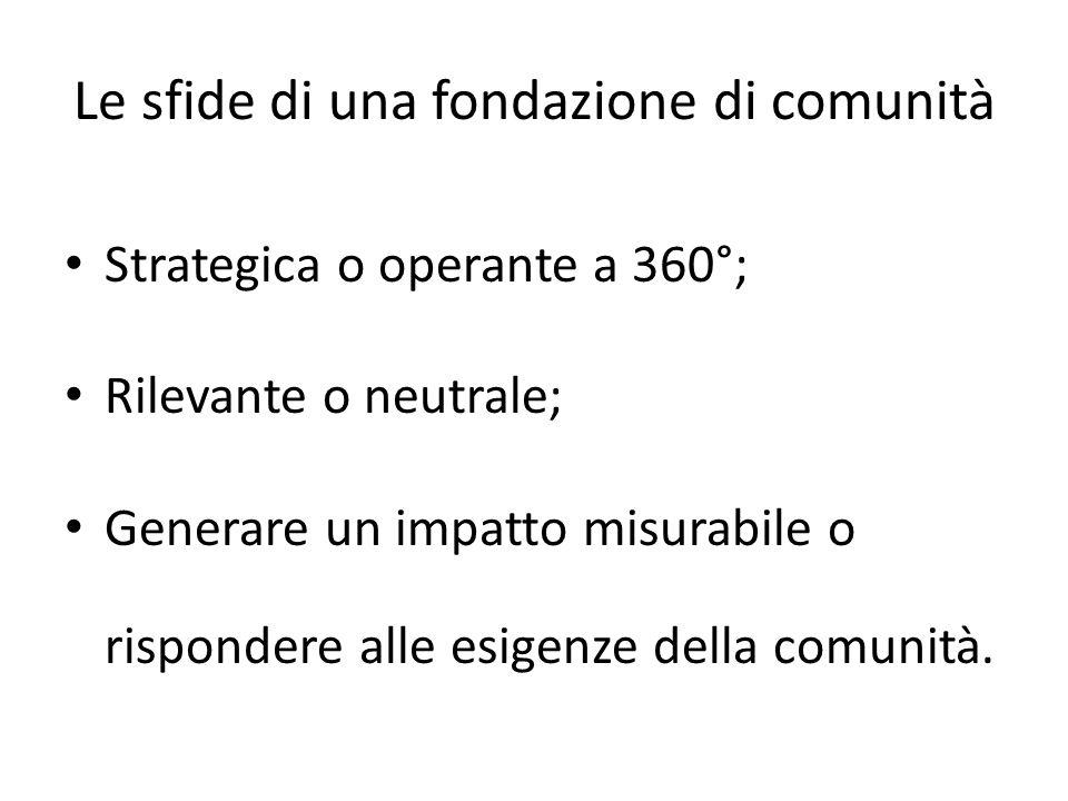 Le sfide di una fondazione di comunità Strategica o operante a 360°; Rilevante o neutrale; Generare un impatto misurabile o rispondere alle esigenze d
