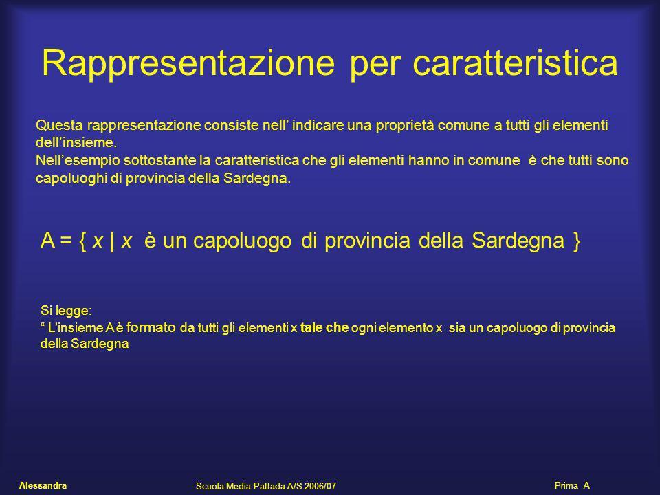 Alessandra Scuola Media Pattada A/S 2006/07 Prima A Rappresentazione per caratteristica Questa rappresentazione consiste nell indicare una proprietà c