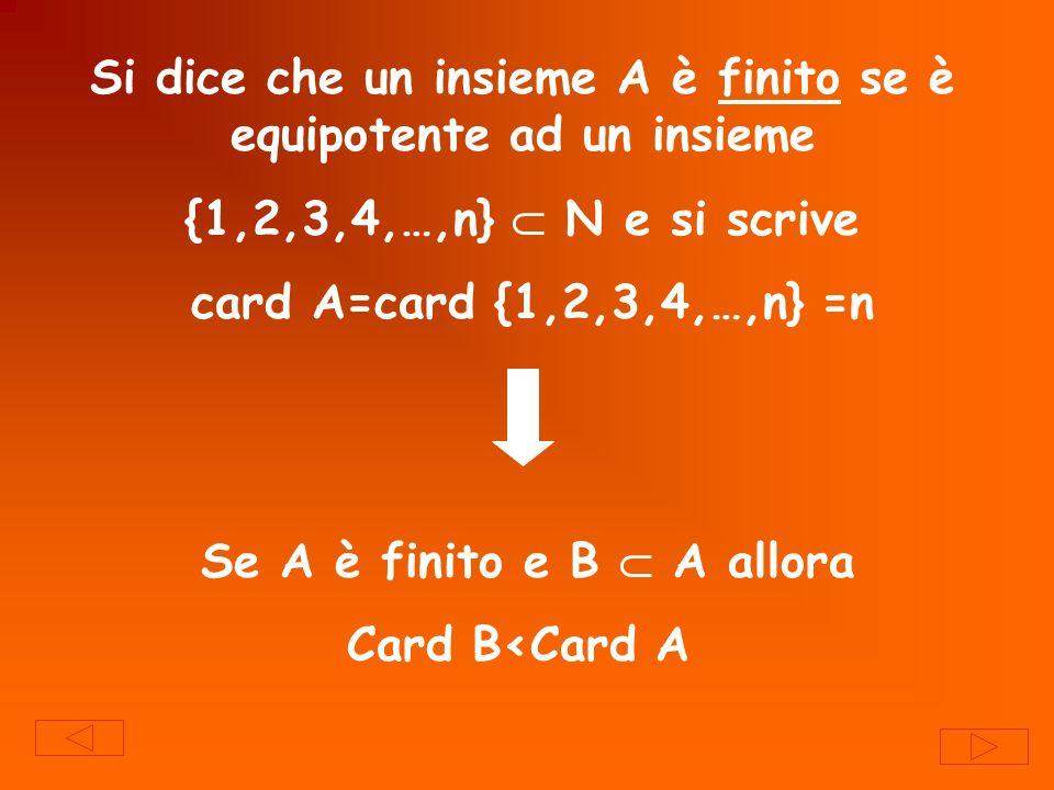 Si dice che un insieme A ha la potenza del numerabile se può essere messo in corrispondenza biunivoca con linsieme N